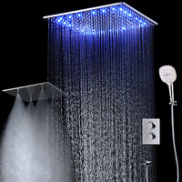 2018 New LED Shower Set 20 Inch Ceiling Rain SPA Showerheads 3 Functions ABS Massage Hand Shower with Thermostatic Faucets