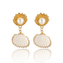 Fashion Cowrie Shell Earrings Women Gold Shell Statement Earrings 2019 Vintage Simulated Pearl Drop Earings Summer Beach Jewelry цена