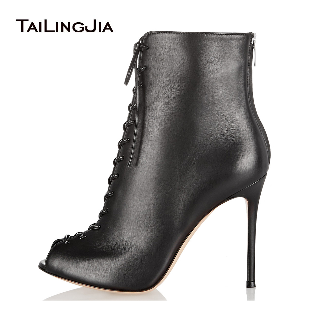 купить Women Black Peep Toe High Heel Lace up Ankle Boots Sexy Summer Booties with Zipper Ladies Dress Shoes Evening Heels Large Size по цене 4135.98 рублей