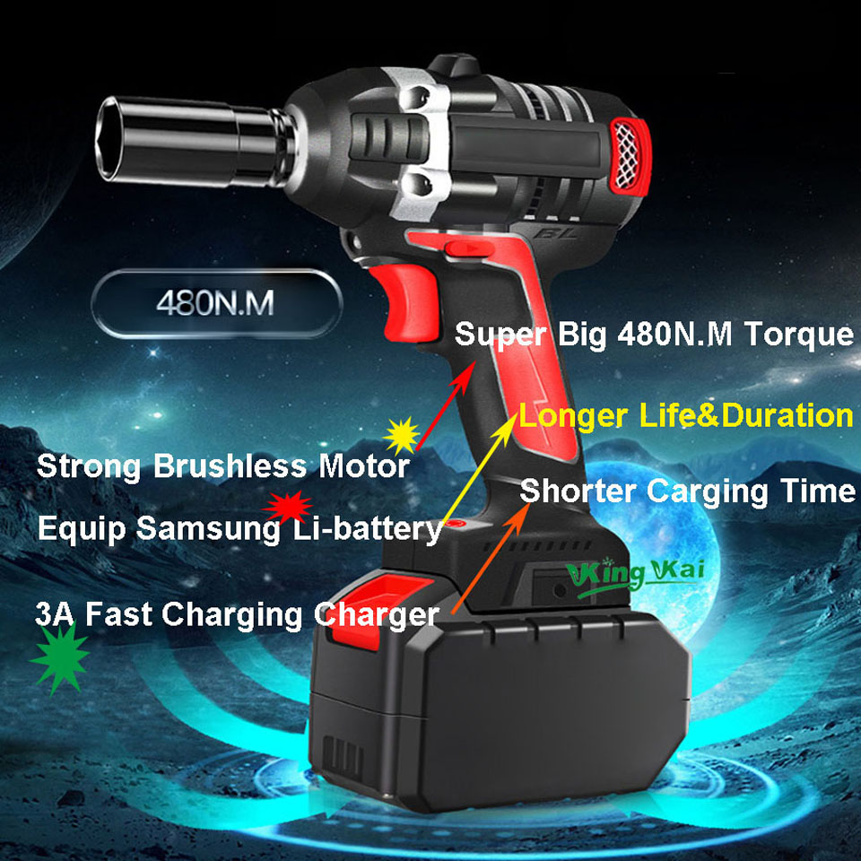 480NM Electric Cordless Lithium Battery Brushless Motor Impact Wrench-0 (9)