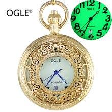 OGLE Waterproof Calendar Day Luminous Dial Mens Women Necklace Chain Pendant Self-Winding Automatic Mechanical Fob Pocket Watch