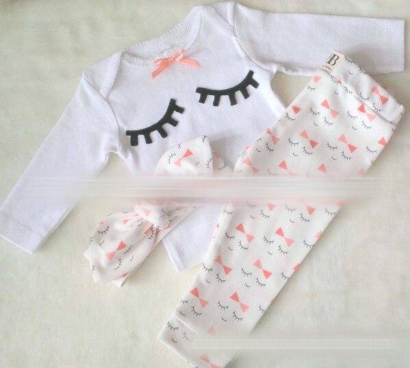 2016 Новый осень новорожденный девушки Ресницы печати майка + Длинные брюки + диапазон Волос 3 шт./компл. H00122