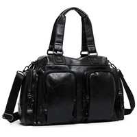 YUPINXUAN Korea Stylish PU Leather Men Handbags Large Capacity Waterproof Shoulder Bag Teenager Designer Male Briefcases