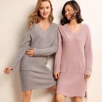 Кашемировый свитер женщин свитер вязать шерстяной свитер v образным вырезом пуловер свободные длинные теплая куртка