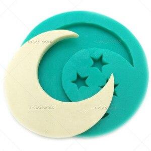 Image 1 - Bakeware 달과 별 라마단 장식 실리콘 곰 팡이 Eid Fondant f0625yl를 꾸미는 케이크를위한 이슬람교 퐁당 초콜렛 모양