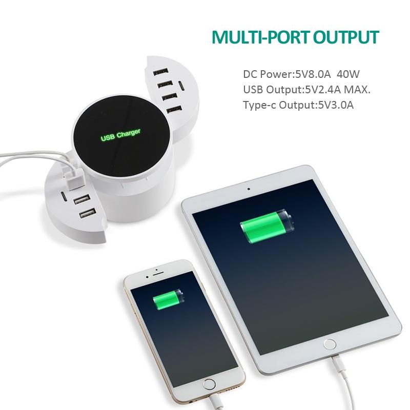 INGMAYA 10-portar USB-laddare Station 5V8A hopfällbar snabb enhet - Reservdelar och tillbehör för mobiltelefoner - Foto 2