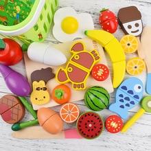 22 шт. Детские деревянная кухонная игрушка Cutted Овощной игрушка-фрукт с магнитом для приготовления пищи для раннего развития игрушка в подарок