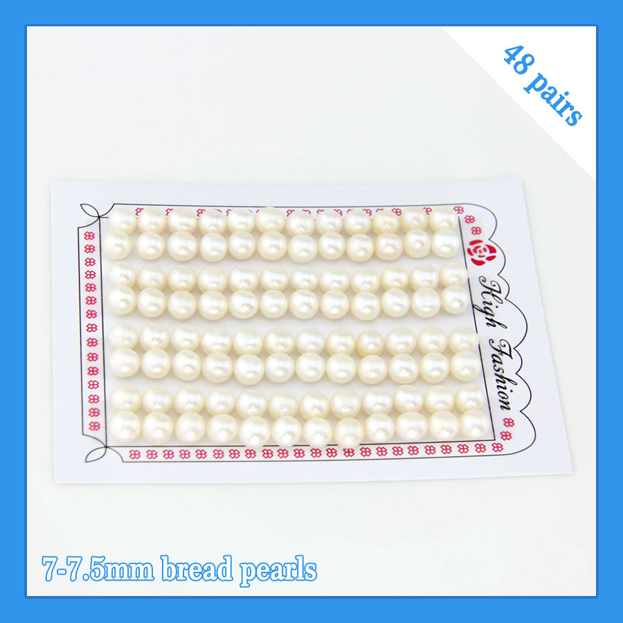 цены CLUCI FREE SHIPPING, 7-7.5mm AAA white bread shape freshwater pearl beads