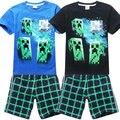 Ropa para la escuela de juegos para niños de 8 años de Ropa para niños 10 años t + pantalones de la camiseta 2015 del verano negro azul 6 colores 160 cm