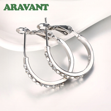 New Fashion Sliver Round Creole Crystal Rhinestone Hoop Earrings For Women Party Jewelry Gifts