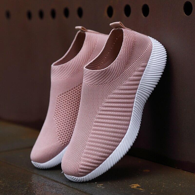 Big Size 35-43 Women Casual Knitting Sock shoes Stretch Flat Platform  Ladies Slip On Shoes woman vulcanized Sneakers Zapatillas