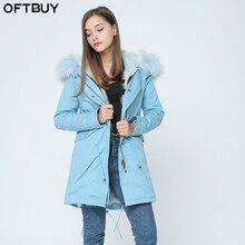 Женская куртка с капюшоном OFTBUY, Толстая теплая парка с капюшоном из натурального меха енота, зима 2020
