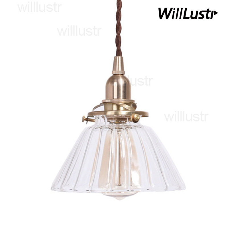 handmade mouth blown glass brass pendant lamp clear transparent white ribbed glass suspension light nordic retro lamp fixture