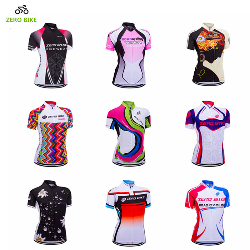 ZEROBIKE Women s Short Sleeve Cycling Jersey Quick Dry Breathable MTB Bike Clothing Full Zip Tops T shirt ropa ciclismo US Size