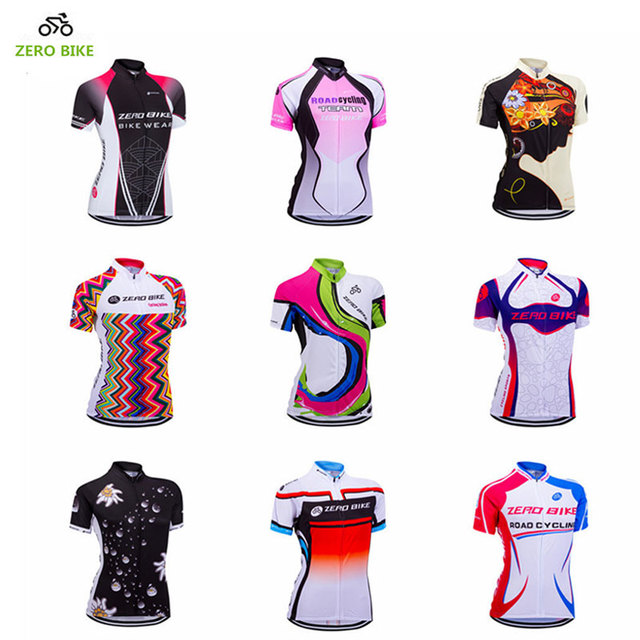 ZEROBIKE Women s Short Sleeve Cycling Jersey Quick Dry Breathable MTB Bike  Clothing Full Zip Tops T-shirt ropa ciclismo US Size e6fbdabc9