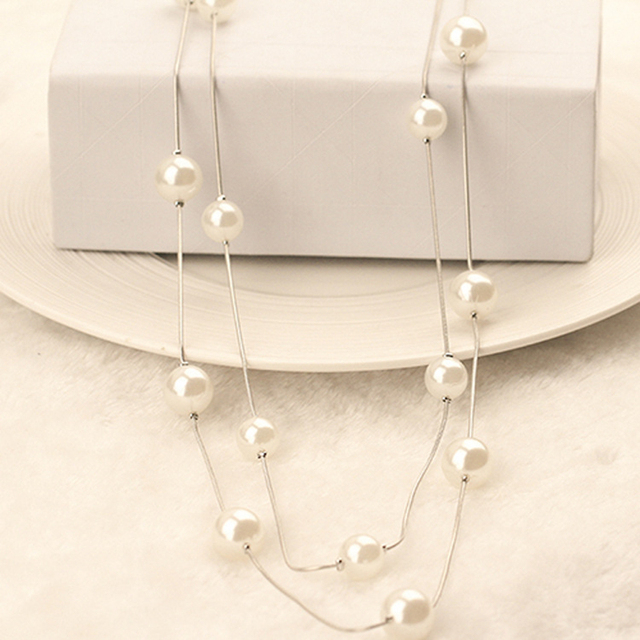 The Latest Jewelry Lovely Long Double-deck Imitation Pearls Female Charm Pendant Sweater chain Women Jewelry Gifts New Arrive