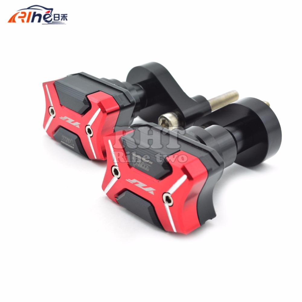 With YZF logo Motorcycle Frame Crash Pads Engine Case Sliders Protector Red Frame Slider For Yamaha YZF R1 2007 2008 with z300 logo motorcycle frame crash