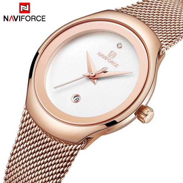 NAVIFORCE zegarek moda damska sukienka zegarki kwarcowe Lady zegarek wodoodporny ze stali nierdzewnej prosta dziewczyna zegar Relogio Feminino