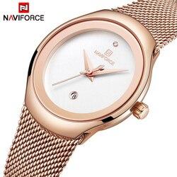 Naviforce relógio feminino moda vestido de quartzo relógios senhora aço inoxidável relógio de pulso à prova dsimple água simples menina relógio relogio feminino