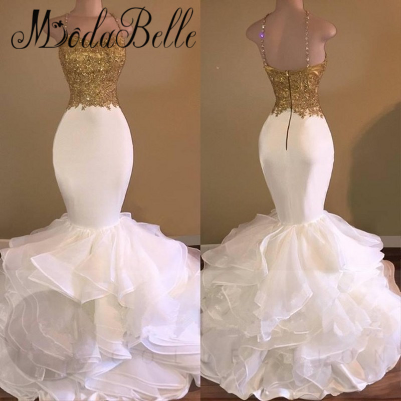 Popular White and Gold Mermaid Prom Dresses-Buy Cheap White and ...
