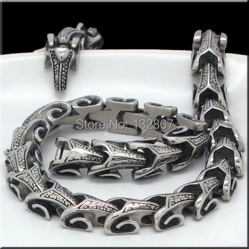 156g Super Jewelry Silver Tone 316L Stainless Steel Necklace Mens DRAGON Biker Chain 11mm wide 24