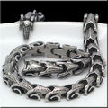 156g Super Jewelry Silver Tone  316L Stainless Steel Necklace Mens DRAGON Biker Chain 11mm wide 24 inches