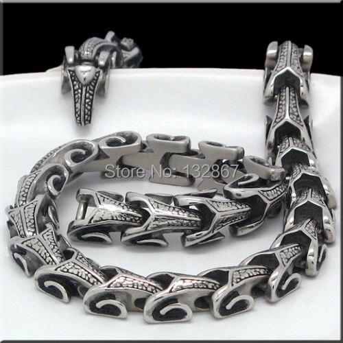 156g Super Schmuck Silber Ton 316L Edelstahl Halskette DRACHEN Biker Kette 11mm breite 24 zoll-in Kette Halsketten aus Schmuck und Accessoires bei  Gruppe 1