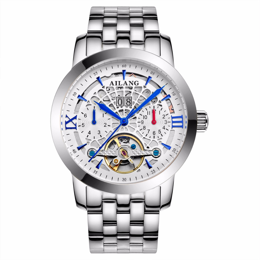 AILANG brand watches luxury high quality automatic mechanical watch sapphire fashion hollow tourbillon men watch waterproof original tourbillon men watch star sky style high quality tourbillon hollow movement 24k vacuum plating men s mechanical watches