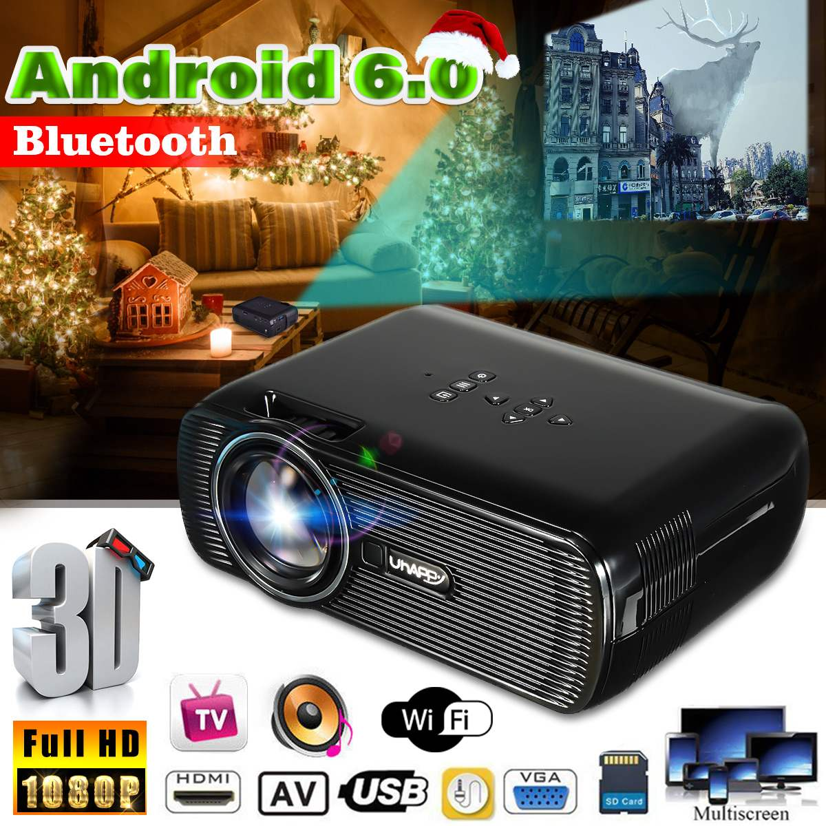 <font><b>7000</b></font> <font><b>Lumens</b></font> Wifi Mini Projector HD 1080P Android Home Theatre System Cinema Wireless 3D HDMI Projector image