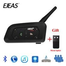 EJEAS V6 PRO Bluetooth Moto BT Comunicatore Del Citofono del Casco Headset con 1200m Citofono per 6 Piloti + Metallo Stecca