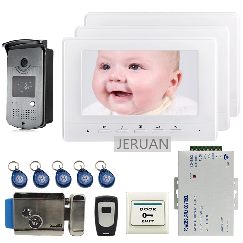 FREE SHIPPING 7 Screen Video Intercom Door Phone System + 3 White Monitor + Outdoor RFID Access Doorbell Camera + Electric Lock free shipping 7 screen video door phone intercom system fingerprint code keypad unlock door camera electric mechanical lock