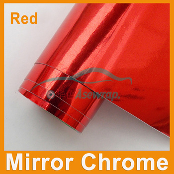 Free shipping high quality car wrapping film Car Sticker red  Mirror Chrome vinyl with Air bubble free car decoration