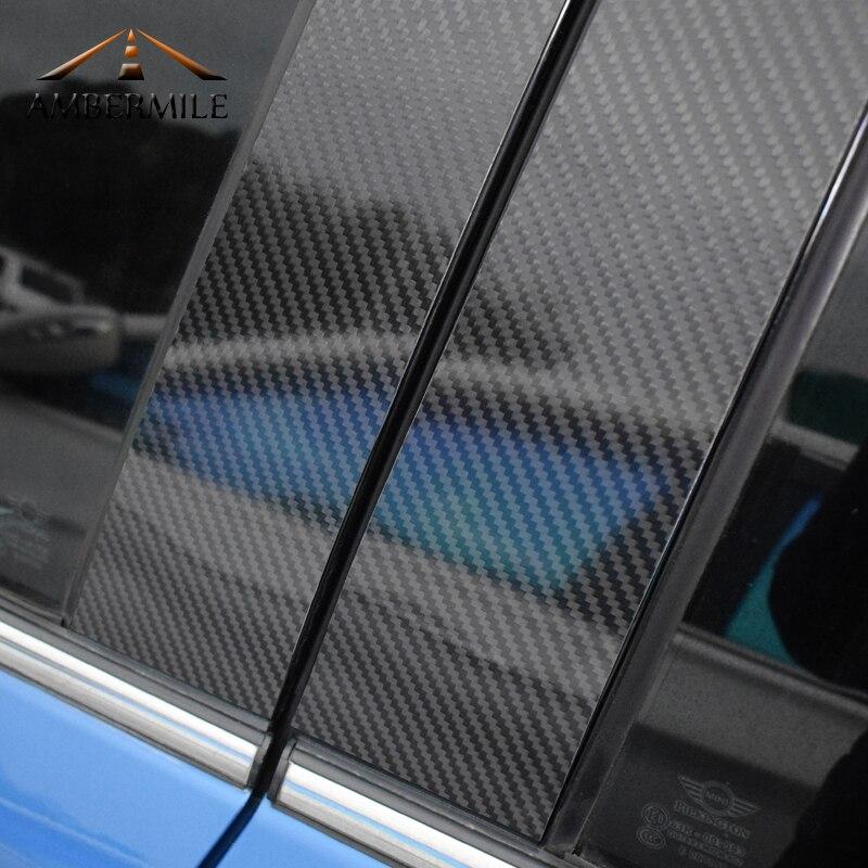 AMBERMILE pour Mini Cooper F55 Compatriote F60 Clubman F54 Accessoires Carbone fibre B Pilier Couverture Garniture Fenêtre Protection Autocollants - 2