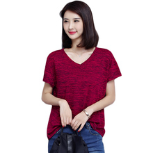 2017 Summer Europe Style Women's T Shirt Women Tops Casual Loose Cotton Short Sleeve V Neck Red T-shirt Female T Shirts 5XL Plus