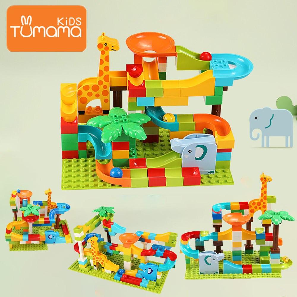 52-143 pces mármore corrida labirinto bolas pista blocos de construção selva aventura trilha tijolo brinquedos para criança