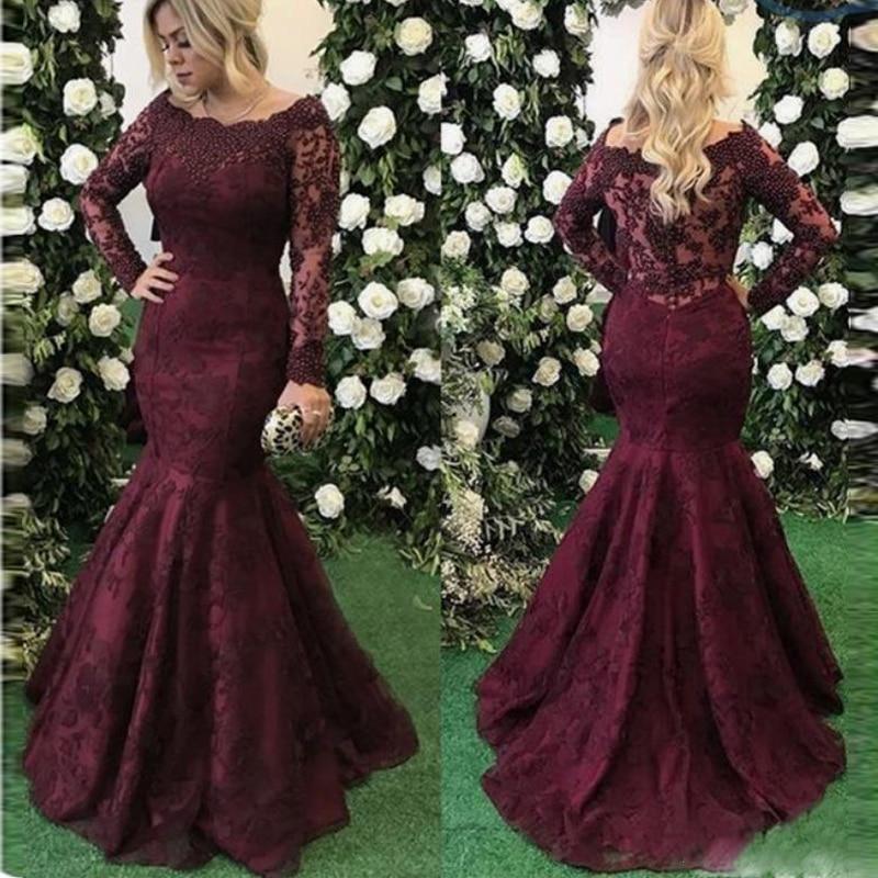 Elegant Burgundy Mermaid   Prom     Dresses   Long Sleeves Boat Neck Lace Appliques Women Formal Wear Gala   Dress   2018 Evening Gowns