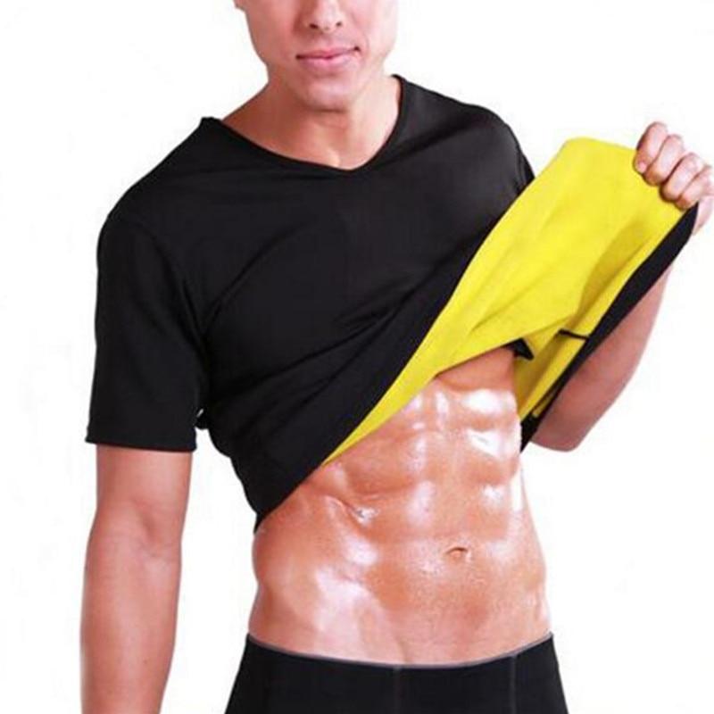 Men's Thermal Body Shaper Slimming Shirt Hot Shapers Compression Slim Shirt Neoprene Waist Trainer Body Shaper Slim Vest T-shirt