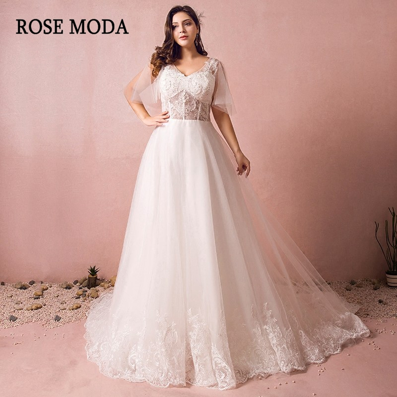 2019 Wedding Dresses With Sleeves: Rose Moda Lace Plus Size Wedding Dress 2019 With Sleeves V