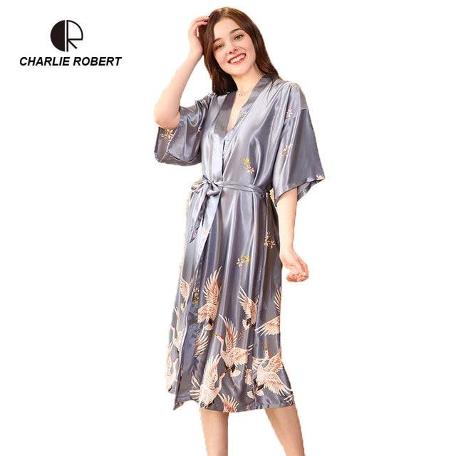 951908fd30 CR New 2018 Silk Robe Bathrobe Ladies Satin Robe Print Nightgown Sexy  Nightgown AP552