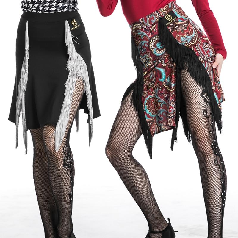 Latin Dance Skirt 1920s Women Fringe Skirt Lady Folk Pattern Tango Ballroom Flamengo Salsa Competitive Latin Dance Dress BL1138
