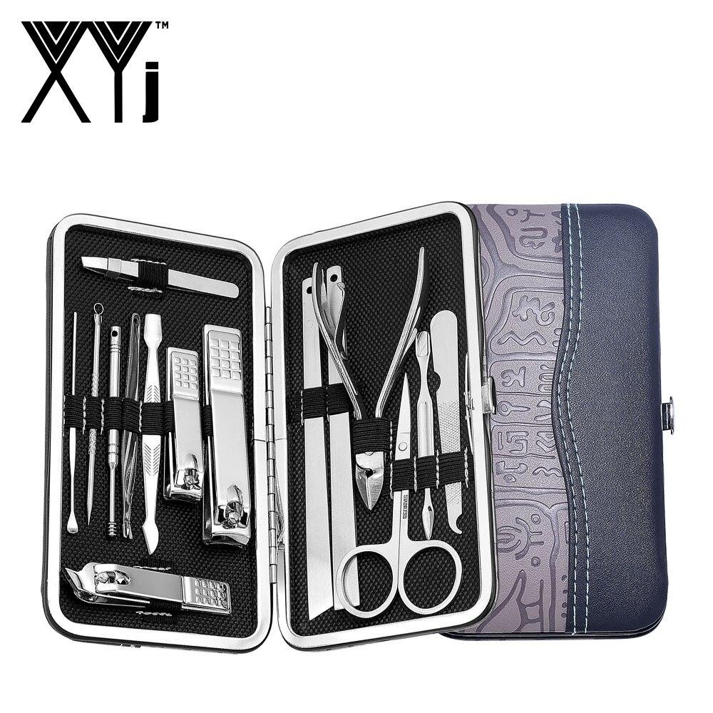 XYj Manucure Outil 15 pcs/ensemble Kit de manucure ensemble de manucure Pédicure Kit lime à ongles Ciseaux acier inoxydable nail art Outil Sets avec Étui