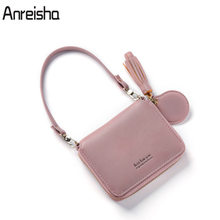 c31d8871ec1d Anreisha Fashion Women Tassel Wallet High Quality Leather Card Holder Lady  Mini Coin Purse Portable Solid