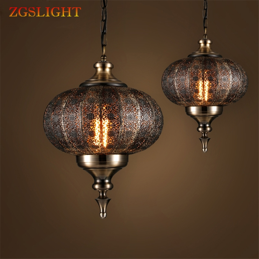 Inde rétro asie du sud-est Balance fer pendentif lumières LED sculpté creux rétro lampes pour salle à manger Restaurant lanterne lampe