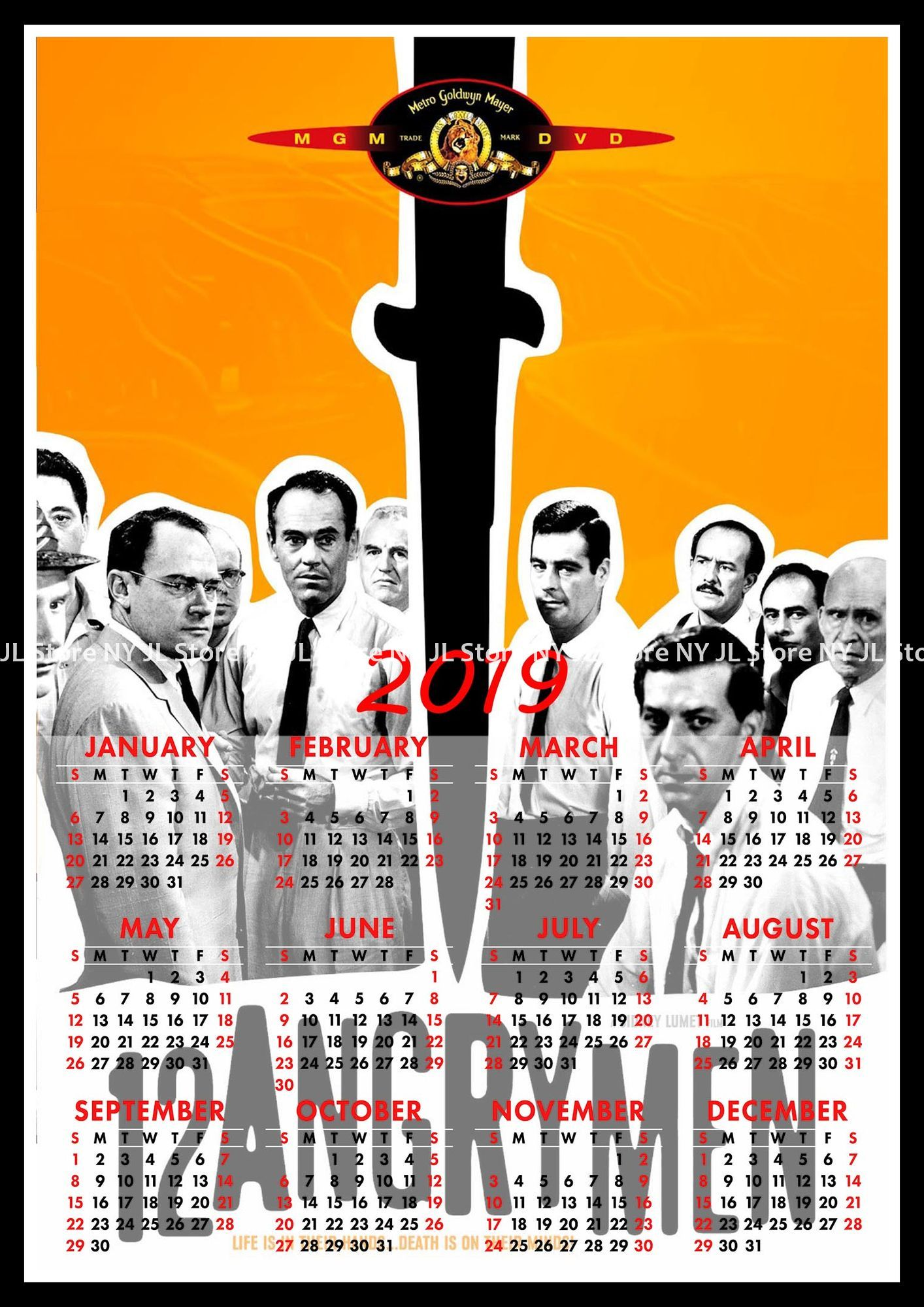 12 Angry Men 2019 Calendar Home Furnishing Decorative White Coated Paper Poster Wall Sticker Decora In Stickers From Garden On