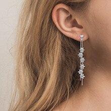 Korea AAA CZ Drop Earrings Silver Long Flower cubic  zirconia Earrings For Women Fashion jewelry Girls Gift RE3302
