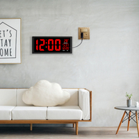 2018 new red LED wall clock, Table Clock, dual use Office Decor USB modern design Home large clocks Big digits EU/US power plug
