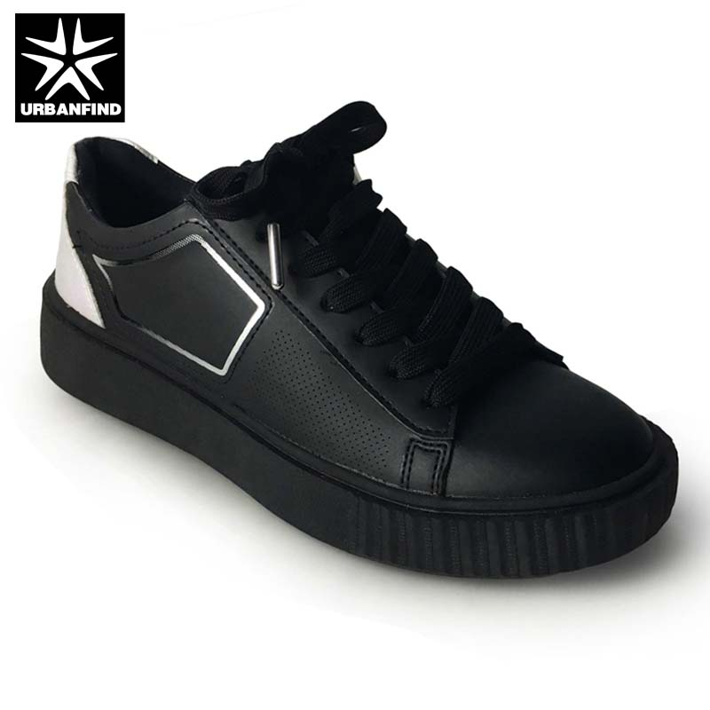 Black White Color Women Fashion Sneakers Size 36-41 Big Sale Lady PU Leather Shoes Casual Flats