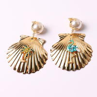 New Design Trendy Simulated Pearl Big Metal Shell Drop Earrings For Women 2017 Charm Jewelry Beach