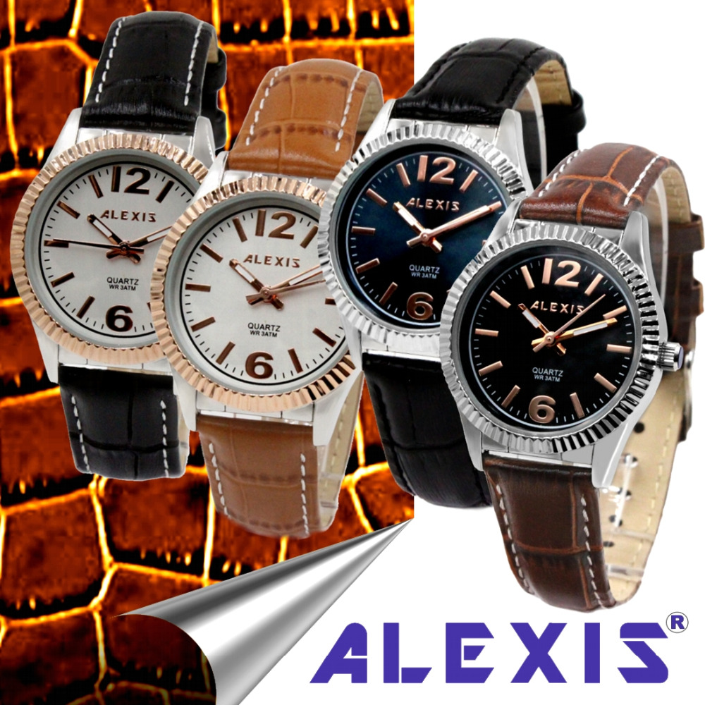 Alexis Generous Analog Quartz Round Watch Japan Best Miyota Movement Good Geninue Leather Strap Water Resistant alexis miyota 0s10 chronograph fashion men analog quartz round watch with date stainless steel band water resistant