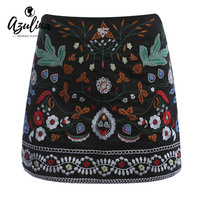 Vintage Floral Embroidery Skirt For Women Short Black Bohemia Skirts Autumn Winter Embroidered Mini A Line